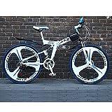21 Geschwindigkeit Unisex Mountainbike mit Zwei Federn Kohlenstoffreicher Stahl 24 Zoll 26 Zoll Integriertes Rad Doppelscheibenbremse Student Kind Pendlerstadt Faltrad,White,26Inch