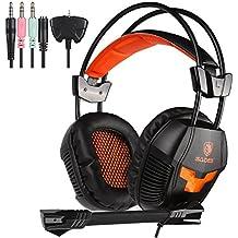 SADES SA 921 Stereo Gaming Headset, ligero sobre el oído juego de ordenador auriculares jack de 3,5 mm con micrófono para PC portátil / MAC / PS4 / XBOX ONE / iPad / Phones con el adaptador libre Splitter (Negro Naranja)