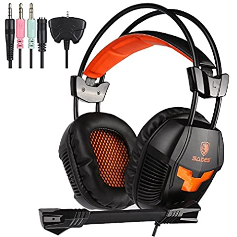 SADES SA921 Stereo Gaming Headset,Lightweight Over Ear Computer Game Headphones 3.5mm Jack with Mic for (Cancella Ottone)