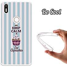 Becool® - Funda Gel Flexible para bq Aquaris X5 Plus .Carcasa TPU fabricada con la mejor Silicona ,protege se adapta a la perfección a tu Smartphone y con nuestro diseño exclusivo Keep Calm and Eat Cupcakes