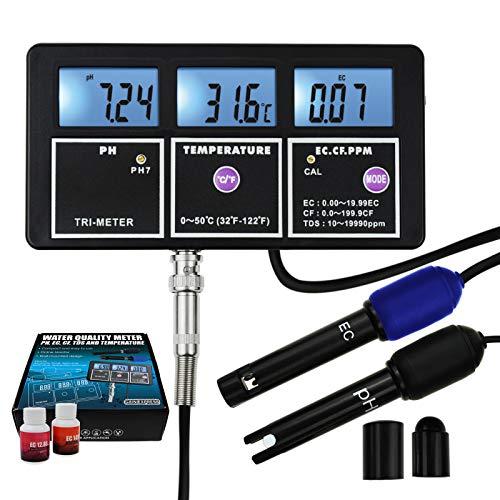 5-in-1-Wasserqualitäts-Multiparameter PH EC CF TDS (ppm) Temperaturtest-Messgerät Hintergrundbeleuchtung, An Der Wand Montierbarer Wiederaufladbarer Kontinuierlicher Monitor-Tester