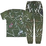 Filles et Garçons Armée Survêtement pour enfants 2 pièces – T-Shirt et pantalon (6 ans, Kaki)