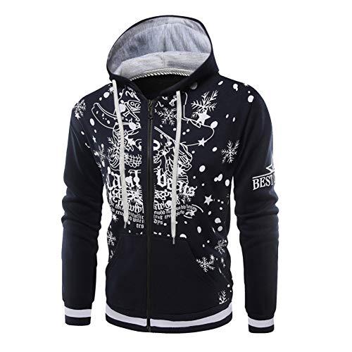 GSDZN - Weihnachten Herren Weihnachtsmann Digital Print Hoodie Pullover Sweater, M-3XL,B-XL