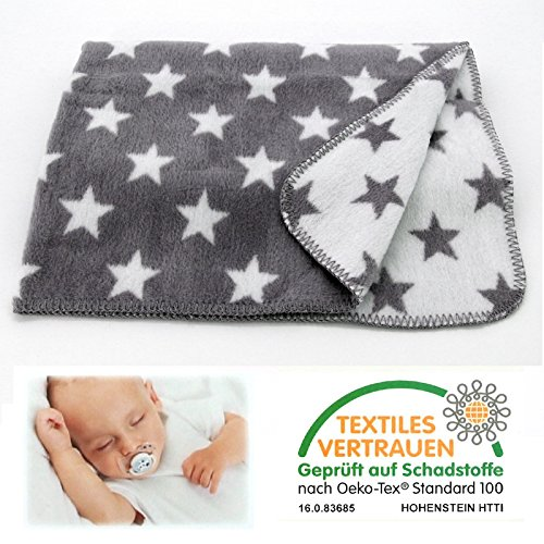 heimtexland SUPER SOFT Baby Kuscheldecke STERNE in anthrazit grau 75x100 cm Babydecke Unisex Baumwolle ÖKOTEX zertifziert Decke Typ526