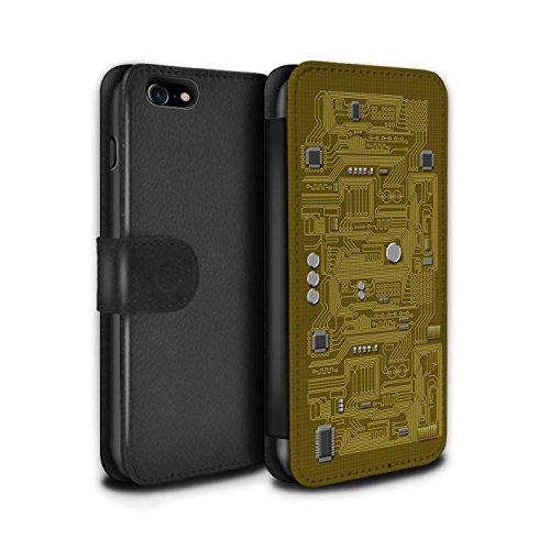 Stuff4 Coque/Etui/Housse Cuir PU Case/Cover pour Apple iPhone 8 / Vert Design / Circuit Board Collection Jaune