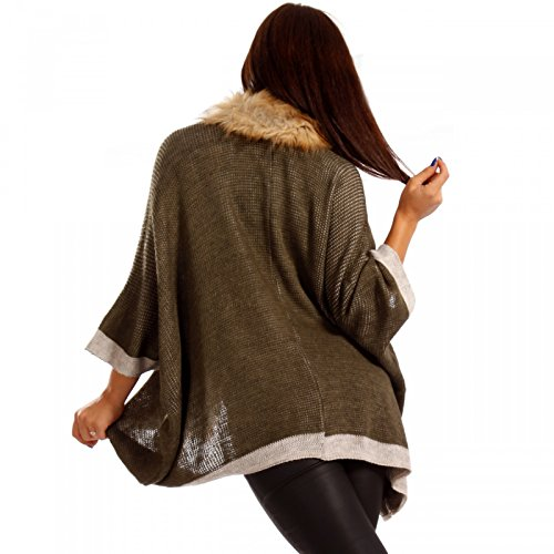 Damen Cardigan Fellimitat Strickjacke Khaki