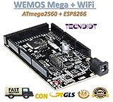 WeMOS Mega + WiFi R3 ATmega2560 + ESP8266 USB-TTL for NodeMCU Arduino Mega | WEMOS Mega + WiFi R3 ATmega2560 + ESP8266 (32 MB Speicher), USB-TTL CH340G. Mega Kompatibel, NodeMCU, WeMos ESP8266