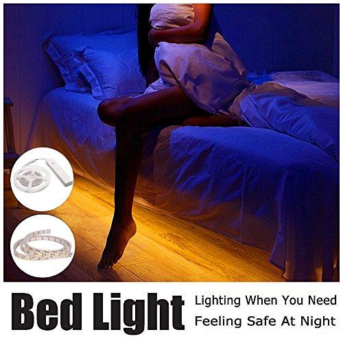 ELINKUME mouvement des lumières activées avec capteur PIR, 1 m/de la lumière du lit, éclairage des escaliers, lumière de la salle de bain, Cabinet lumière flexible LED Strip Light avec 15 s automatique arrêt minuterie veilleuse (blanc chaud)