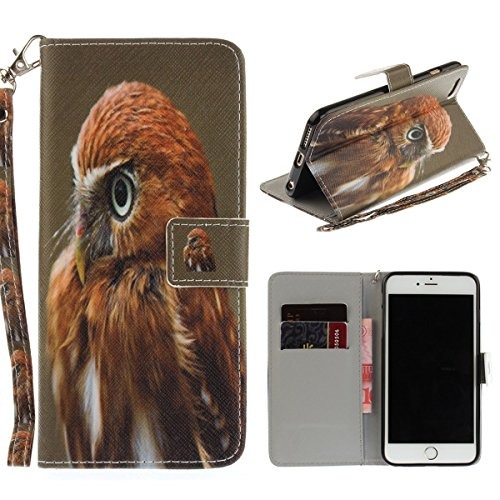 "MOONCASE iPhone 6/iPhone 6s Coque, [Colorful Painting] Anti-choc TPU Protection Housse Lanyard PU Cuir Portefeuille Case pour iPhone 6/iPhone 6s 4.7"" Magnolia Eagle"