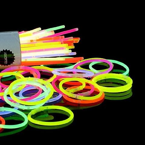 STRATA24© 100 x Tube Glow Stick Batons Fluo Lumineux MULTICOULEUR