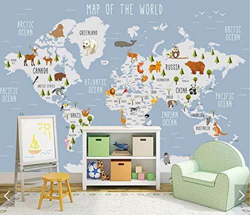 WORINA 3D Karton Tier Weltkarte Tapete Wandbild für Kinderzimmer Kinder Schlafzimmer Vintage Tapeten Wohnkultur Tapeten Wohnkultur, 350x245 cm (137.8 by 96.5 in)