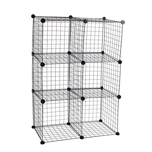 PrimeMatik - Armario Organizador Modular Estanterías de 6 Cubos de 35x35cm Metal Negro