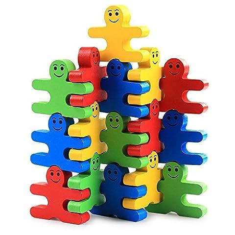 CYNDIE Balance Villain Blocks Set Building Blocks Toy Wooden Colorful