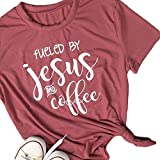 Vin beauty Fueled by Jesus and Coffee Word Printed T Shirt Tops