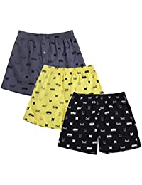 The Cotton Company 100% Cotton Boxer Shorts for Men (Pack of 3) - Bat