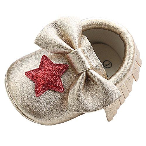 KonJin Baby Schuhe Kleinkind Schuhe Kreuz Taufe Taufe Schuhe erste Wanderschuhe Baby Mädchen Pailletten Bowknot Star Quaste Komfortabel Leicht Klein und süß Sandalen Schuhe