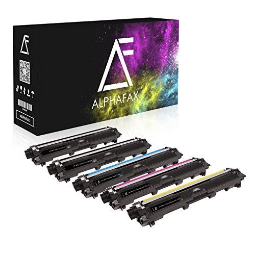 Alphafax 5 Toner kompatibel für Brother TN-241 TN-245 für Brother MFC-9142CDN, Brother DCP-9022CDW, MFC-9342CDW, MFC-9332CDW, HL-3150CDW, HL-3170CDW - Schwarz je 2.500 Seiten, Color je 2.200 Seiten
