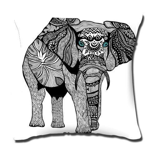 CSD Pillow case Pengflair Shop - Funda de cojín con diseño de Elefante Indio, 45,7 x 45,7 cm, un Lado, 50% algodón, 50% poliéster