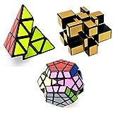 3-embalado shengshou 3X3 Pyraminx + espejo de Dorado + rompecabezas de cubo mágico Megaminx conjunto de juguetes
