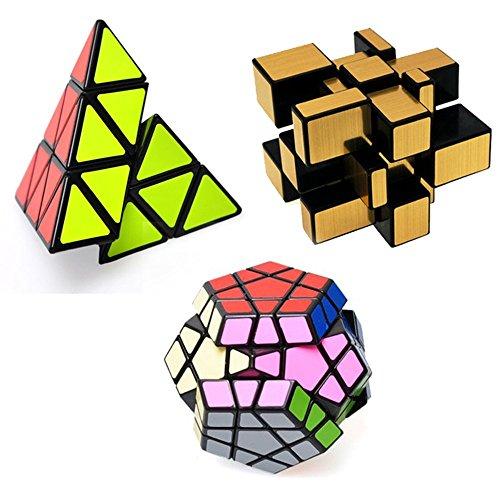 (EasyGame Unregelmäßige Cube Set,Zauberwürfel, Mirror Cube, Pyraminx Zauberwürfel, Megaminx Zauberwürfel, 3 in Paket)