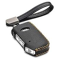Vitodeco Genuine Leather Smart Key Fob Case Cover Protector with Leather Key Holder for 2019-2020 Kia Soul, Kia Seltos, Kia Telluride, Kia Forte (4-Button, Black)