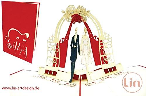 Lin de Pop up Cartes de mariage mariage cartes, invitations Cartes 3D Cartes de vœux Félicitations cartes de mariage amour, Couple de mariés
