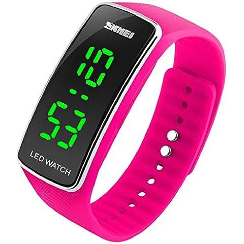 Sannysis® Silicona LED Deporte pulsera táctil reloj de pulsera digital (Rosa Caliente)