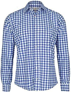 Almsach Herren Trachtenhemd Slim fit karo blau-weiss langarm - Der Klassiker für alle Oktoberfeste und Volksfeste...