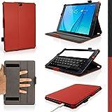 igadgitz Rojo Funda PU Cuero para Samsung Galaxy Tab S2 9.7'' SM-T810 con Soporte Multi Angle + Auto Sleep/Wake + Correa de mano integrado + Protector Pantalla