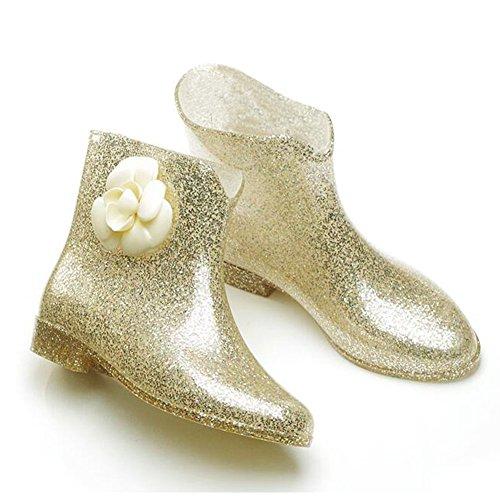 Meijunter Korean Femmes Antidérapant Rainboots Bottes de pluie Imperméable Caoutchouc Rain Shoes Princesse Boots Chaussures nautiques Gold Flower