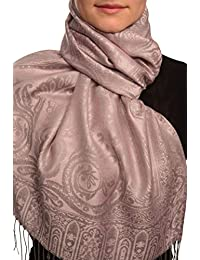Mirrored Paisley On Amaranth Pink Pashmina Feel With Tassels - Rose ?charpe Taille Unique - 70cm x 180cm