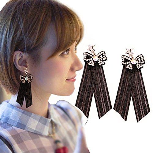 Babyicon Damen Mädchen Schmuck Mode Elegant Schwarz Spitze Baumeln Ohrringe (Style 6)