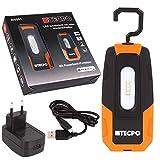 TECPO 300551 AKKU Werkstattlampe 300 Lumen IP54 4 SMD LED Handlampe Arbeitslampe mit Powerbank Funktion Camping Lampe magnetisch