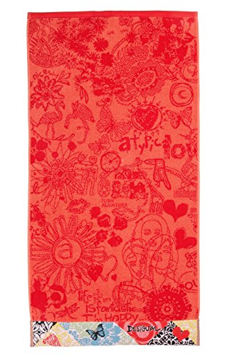 Desigual Bolimania Asciugamano da Bagno Jacquard, 3122 Caramelo (Rosa), 150 x 95 x 5 cm