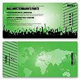 (80 x) Einladungskarten Geburtstag Eintrittskarte Party Ticket Einladungen Grün