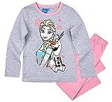 Frozen - Die Eiskönigin Mädchen Schlafanzug ELSA Pyjama (Rosa/Fuchsia-Grau, 110-116)