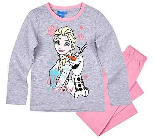 Frozen - Die Eiskönigin Mädchen Schlafanzug ELSA Pyjama (Rosa/Fuchsia-Grau, 140)