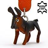 Monkimau 8009 Dobermann Hund-e Schlüsselanhänger Deko-Figur 3D Charm-s 5cm handgefertigte Haus-Tier Leder Anhänger Tier-Liebhaber Geschenk Spielzeug Ornamente Deko-Ration