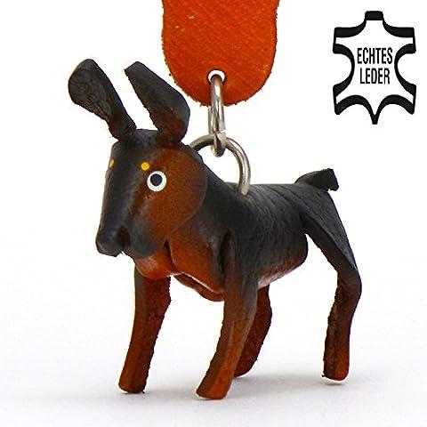 Dobermann Dino - Hunde Schlüsselanhänger Figur aus Leder in der Kategorie Kuscheltier / Stofftier Monkimau in braun schwarz - Dein bester Freund. Immer dabei! - 5x2x4cm LxBxH klein, jeweils 1 Stück