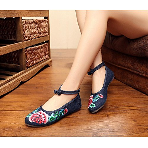 Toile semelles tendineuses vent national chaussures plates brodées blue