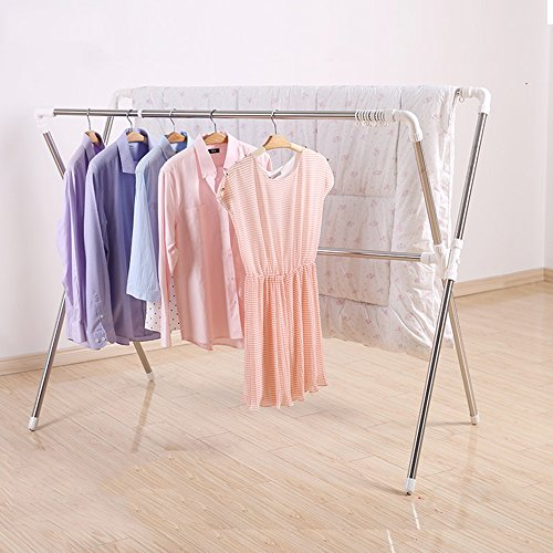 den faltende Doppelstange / Stretch-Trockengestell / Quilt-Racks (Dieses Produkt enthält nur Kleiderständer) ( Farbe : Weiß ) (Boden-quilt)