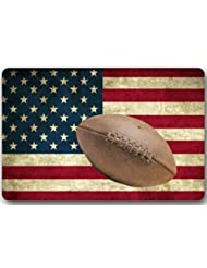 """Vintage de la bandera americana patrón de fútbol americano rectangular Entryways–Felpudo antideslizante Felpudo alfombra–23,6(L) X 15,7(W), 3/16espesor de la """""""