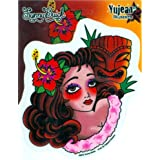 "Sunny Buick - Tiki Retro Tropical - Pinup PIN-UP Girl Vinyl autocollant Sticker / Decal - 4 3/4"" W x 5"" H Die-Cut - Weather Resistant, Long Lasting for Any Surface"