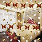 Moginp Gardinen,Vorhänge Schmetterling Kristallglas Perlen Vorhang Luxus Wohnzimmer Schlafzimmer Fenster Curtain Tür Hochzeit Dekor (B)