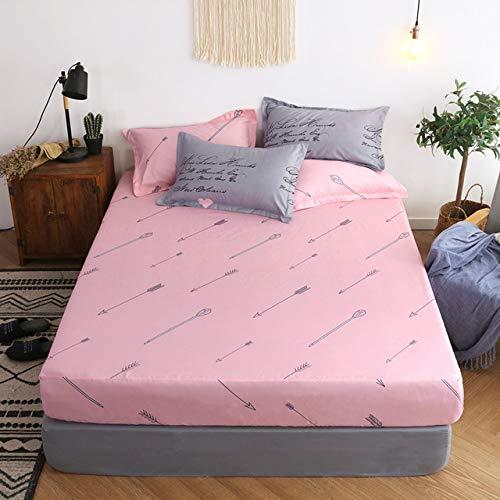 SpannbetttücherModern gestreifte Bettlaken Polyester-Baumwollbettlaken 25 cm tiefer elastischer Gurt Double Full Queen Matratzenbezug für Erwachsene mit 2 Kissenbezügen 120 cm x 200 cm x 25 cm -