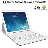 KARYLAX Étui de Protection Blanc avec Clavier Intégré Azerty Français Connexion Bluetooth Universel L pour Tablette Teclast Master T10 [Dimension 26,5 x 18,5 cm]