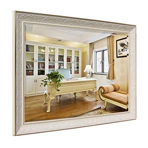 Miroirs 5mm Blanc d'argent De Salle De Bains De Haut De Gamme Américain Rétro De Salle De Bains Cadre Flottant Cadeau Placé (Color : Blanc, Size : 60x80cm)