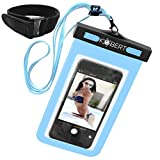 Kobert Waterproof Cell Phone Case (Pro Blue), Dry Bag Pouch for iPhone 6s, 6s Plus Samsung Galaxy s7, s7 Edge, s6, Any Phone Up To 6 inches - Blue Strap and Armband