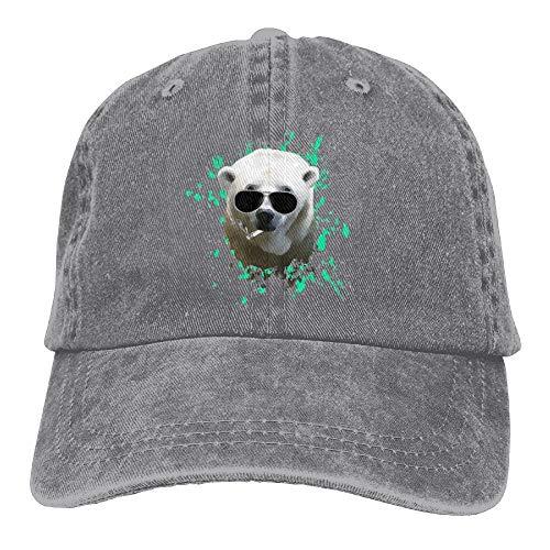 SOTTK Herren Damen Baseball Caps,Hüte, Mützen, Sunglasses Smoking Polar Bear Denim Hat Men Stretch Baseball Hats