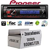 Skoda Roomster & Praktik 1DIN - Autoradio Radio Pioneer DEH-S110UBB - CD | MP3 | USB | Android Einbauzubehör - Einbauset